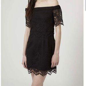 TOPSHOP black off the shoulder lace dress